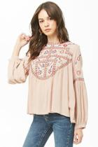 Forever21 Geo Floral Embroidered Top