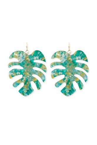 Forever21 Marble Palm Leaf Drop Earrings