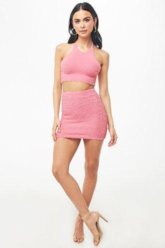 Forever21 Fuzzy Halter Crop Top & Skirt Set