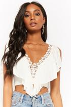 Forever21 Plunging Flounce Crop Top