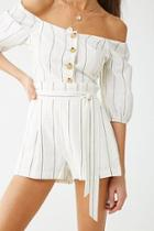Forever21 Linen-blend Pinstriped Shorts