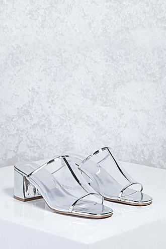 Forever21 Sheer Mesh Metallic Heels