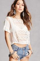 Forever21 Sheer Crochet Panel Crop Top