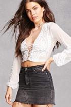Forever21 Sheer Crochet Lace Crop Top