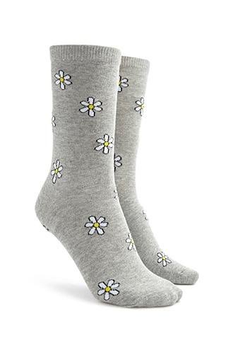 Forever21 Daisy Floral Print Crew Socks