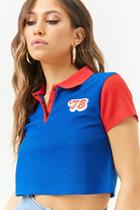 Forever21 78 Textured Colorblock Cropped Polo Shirt