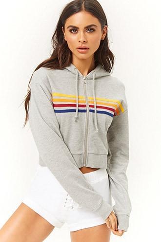 Forever21 Rainbow-striped Zip-up Hoodie
