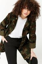 Forever21 Plus Size Hooded Camo Utility Jacket