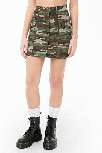 Forever21 Button-front Camo Mini Skirt