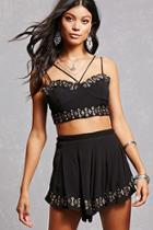 Forever21 Woven Crop Top & Shorts Set