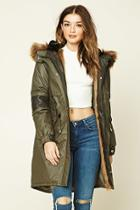 Forever21 Women's  Longline Faux Fur-lined Parka