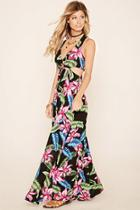 Forever21 Women's  Cutout Floral Print Maxi Dress