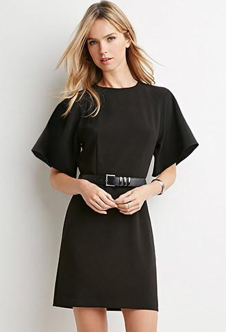 Love21 Belted Angel-sleeve Dress