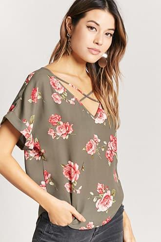 Forever21 Strappy Floral Print Top