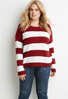 Forever21 Plus Women's  Stripe Mixed Knit Sweater