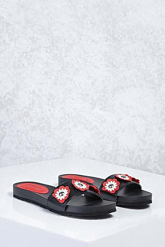 Forever21 Floral Faux Leather Sandals