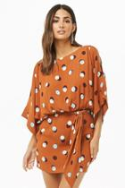 Forever21 Polka Dot Vented-sleeve Dress