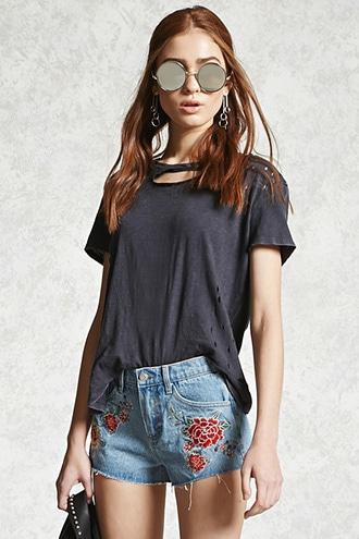 Forever21 Embroidered Floral Denim Shorts