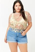 Forever21 Plus Size Sheer Floral Embroidered Top