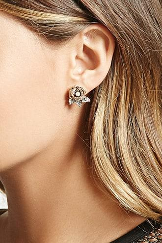 Forever21 Faux Pearl Rose Earrings
