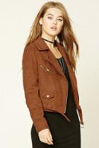 Forever21 Women's  Mauve Faux Suede Moto Jacket