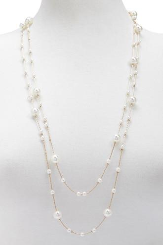 Forever21 Faux Pearl Station Necklace