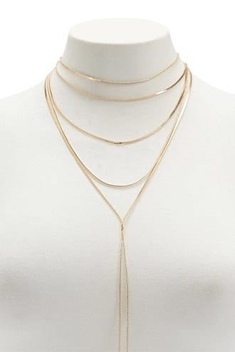 Forever21 Layered Herringbone Drop Chain Necklace