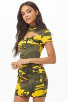 Forever21 Cutout Camo Print Bodycon Dress