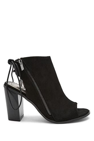 Forever21 Shoe Republic Open Toe Lace-back Booties