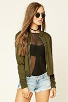 Forever21 Women's  Olive Faux Suede Bomber Jacket