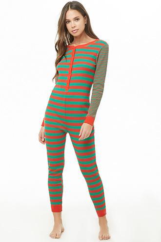 Forever21 Striped Waffle Knit Pajama One-piece