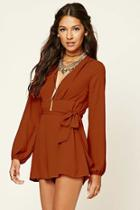 Love21 Women's  Rust Contemporary Belted Romper