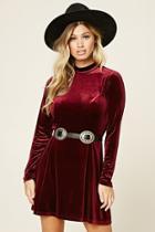 Forever21 Women's  Mock Neck Velour Mini Dress
