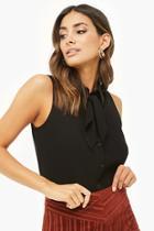 Forever21 Sleeveless Tie-neck Shirt