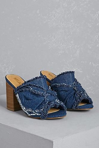 Forever21 Mia Knotted Denim Mules