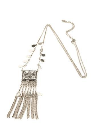 Forever21 Fringe Pendant Necklace Burn.s One Size