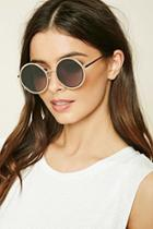 Forever21 Gold & Grey Metal Round Sunglasses