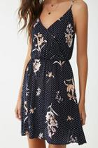 Forever21 Floral & Polka Dot Surplice Dress