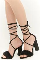 Forever21 Privileged Shoes Lace-up Faux Fur Heels