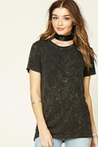 Forever21 Women's  Acid Wash Ribbed Knit Tee
