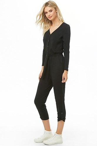 Forever21 Anm Button-front Jumpsuit