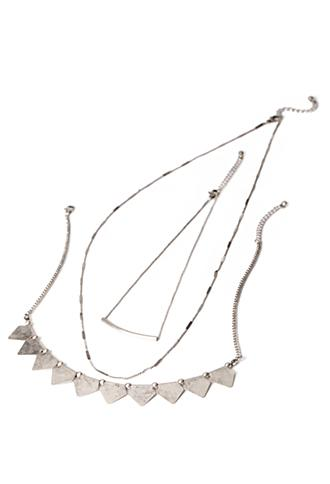 Forever21 Banner Pendant Necklace Set B.silver One Size