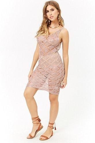 Forever21 Metallic Open-knit Mini Dress