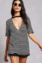 Forever21 Striped Cutout Tee