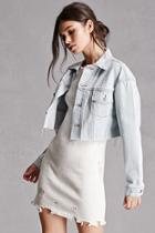 Forever21 Raw-cut Cropped Denim Jacket