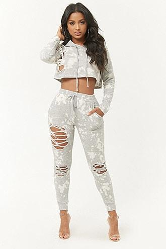 Forever21 Distressed Bleach-dye Joggers