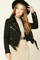 Forever21 Women's  Black Faux Suede Moto Jacket