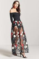 Forever21 Sheer Mesh Floral Embroidered Maxi Skirt
