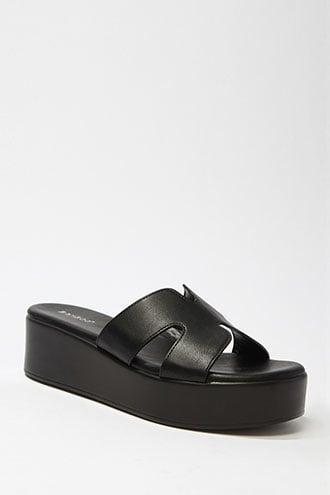 Forever21 Faux Leather Cutout Platform Sandals