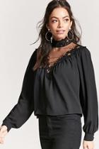 Forever21 Crochet Lace Chiffon Top